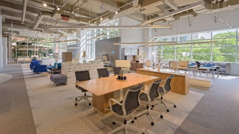 Open and generous work spaces inside 10 10th street building